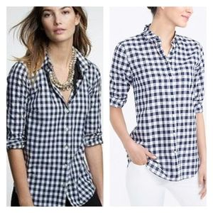J. Crew Vintage Navy Cotton Check Button-up Shirt